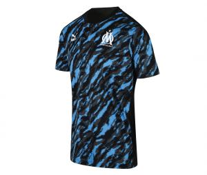 OM Pre-Match Graphic Men's Football Shirt Black/Blue