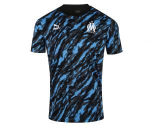 OM Pre-Match Graphic Men's Football Shirt Black/Blue