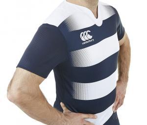 Maillot d'entraînement Canterbury Vapodri Challenge Hooped bleu/blanc
