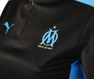 Camiseta manga larga fútbol OM Negro/Azul Mujer