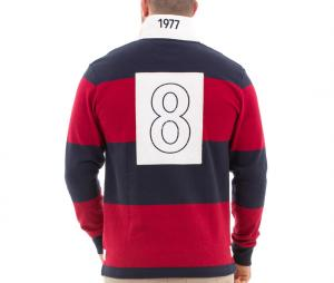 Polo Manches Longues Ruckfield Rugby Vintage Rouge/Bleu