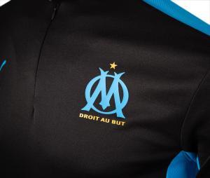 Camiseta manga larga fútbol OM Negro/Azul