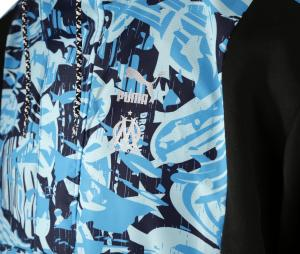 OM Woven Hooded Jacket Black/Blue