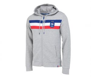 Veste à capuche France Fan Gris