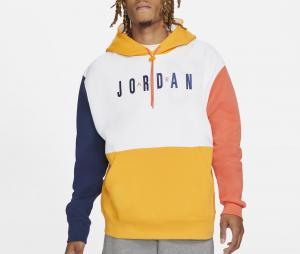 Sweat à capuche Jordan Graphique Air Fleece Blanc/Bleu/Jaune