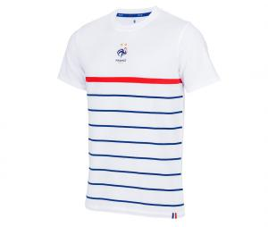 T-shirt France Marinière Blanc Junior