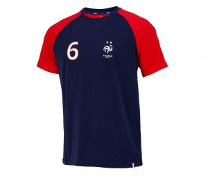 T-shirt France Pogba 6 Bleu/Rouge Junior