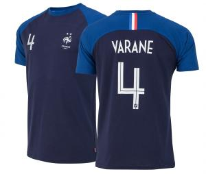 T-shirt France Varane N°4 Bleu Junior 2 etoiles