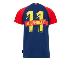 T-shirt Barça Joueur Dembélé 11 Bleu Junior