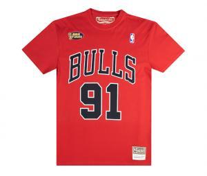 T-shirt Chicago Bulls Rodman Rouge