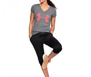 Tee-shirt training Graphic Twist col V Femme Gris