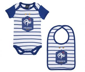 Lot Body + Bavoir France Blanc/Bleu