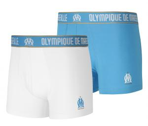 Lot de 2 Boxers OM Blanc/Bleu