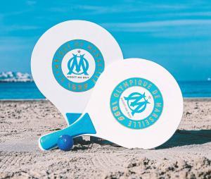 Set de 2 raquettes de plage avec balle OM Blanc/Bleu