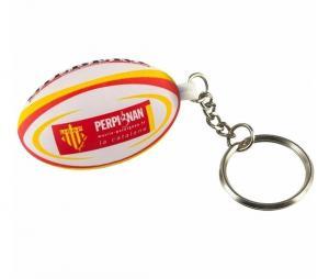 Porte-clés Gilbert ballon mousse Perpignan USAP Blanc/Jaune/Rouge