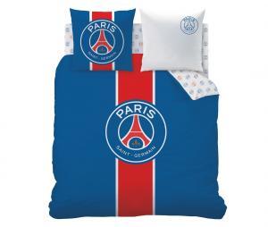 Housse de couette 2 places + 2 Taies d'oreiller PSG Bleu/Blanc