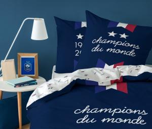 Housse de Couette France 2 Places 2 étoiles Bleu