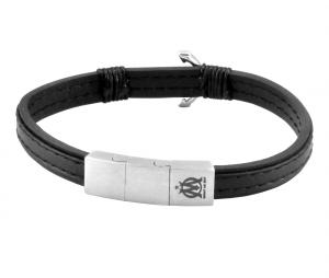OM Leather Marine anchor Bracelet Black