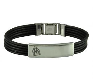 Bracelet OM Cuir/Acier Noir