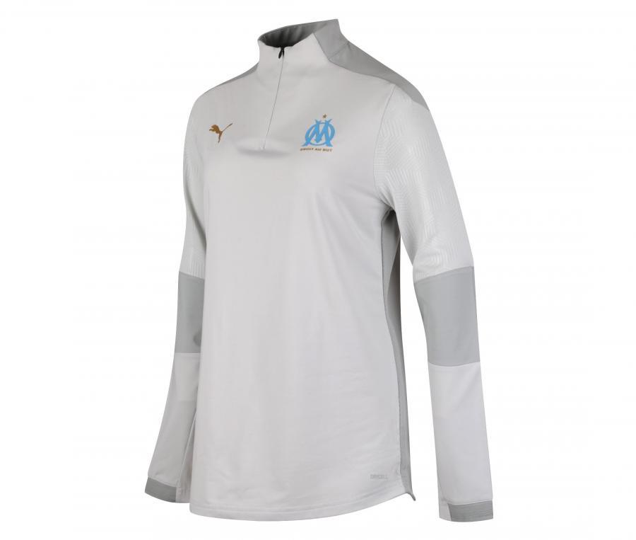 Camiseta manga larga fútbol OM Blanco/Gris Mujer