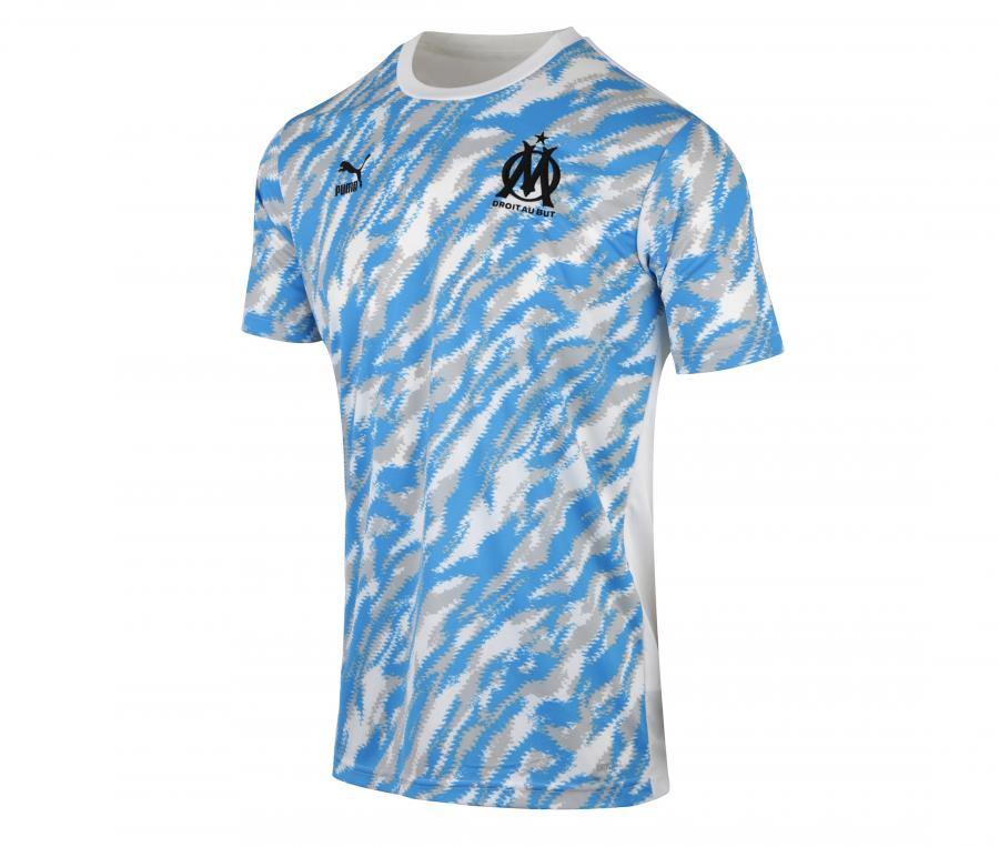 OM Pre-Match Graphic Men's Football Shirt White/Blue