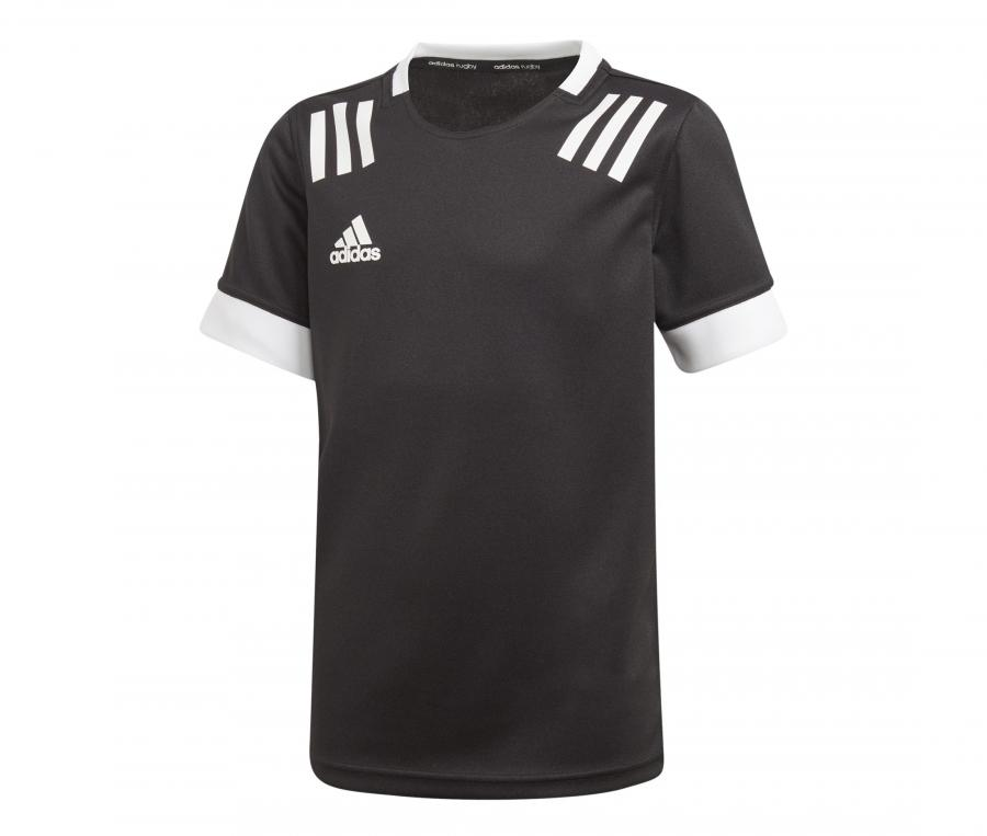 Maillot adidas 3 Stripes Rugby Noir Junior