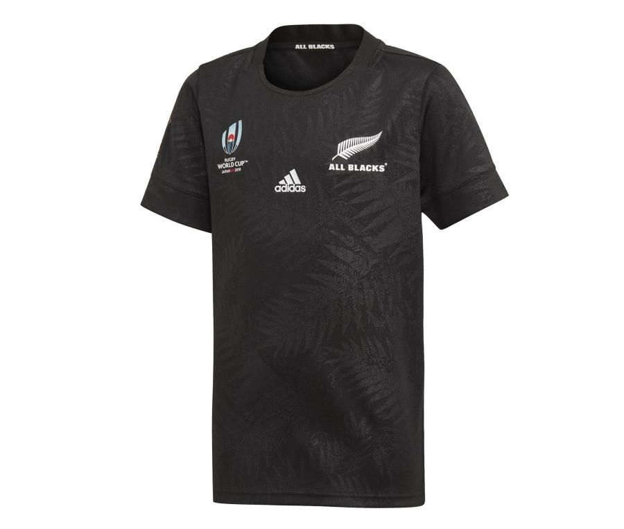 Maillot All Blacks Domicile Y-3 Noir Coupe du Monde 2019 Junior