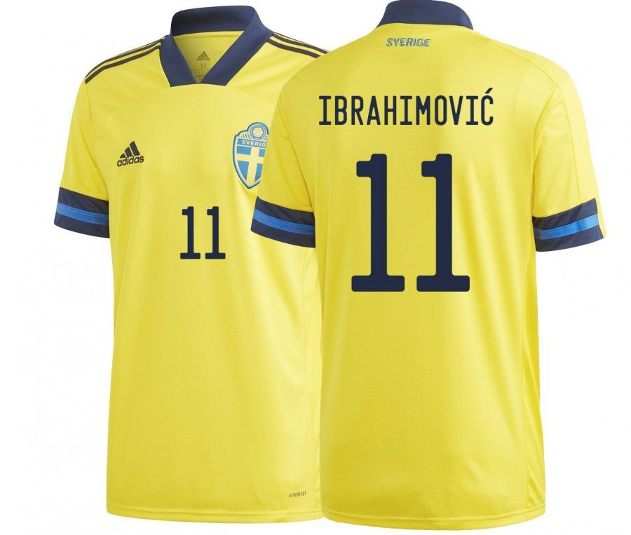 Maillot Suède Domicile Euro Ibrahimovic 2020
