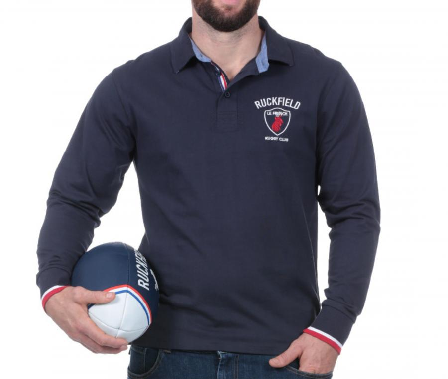 Polo Manches Longues Ruckfield French Rugby Club Bleu + Ballon French Rugby Club OFFERT