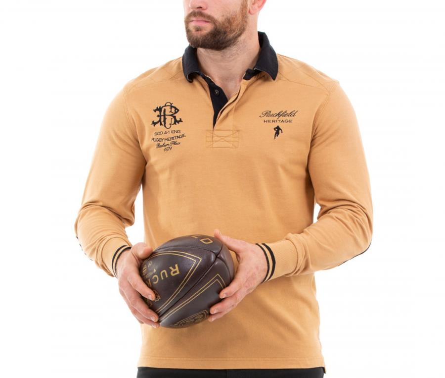 Polo Manches Longues Rugby Héritage Orange