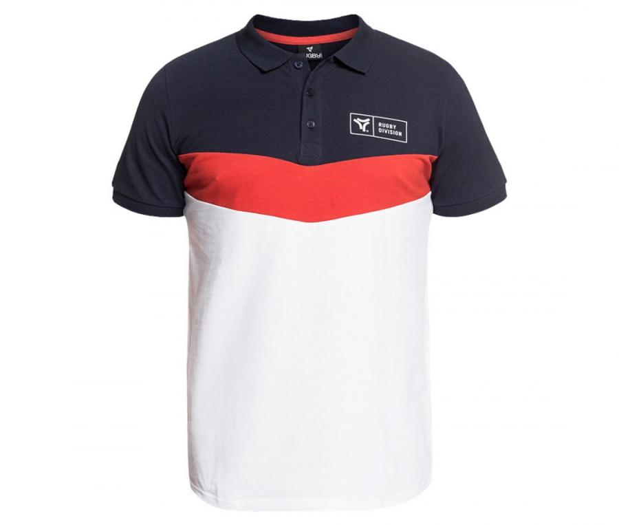 Polo piqué Rugby Division Rampage Bleu/Blanc/Orange