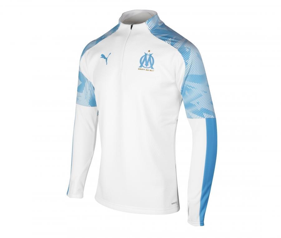 Camiseta manga larga futbol OM Fleece Blanco/Azul