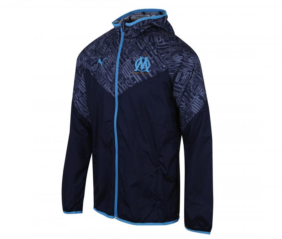 Veste à capuche OM Warm Up Bleu