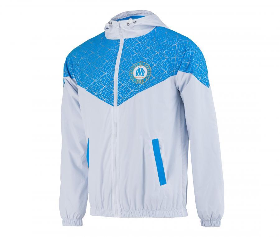 Coupe Vent à capuche OM Blanc/Bleu