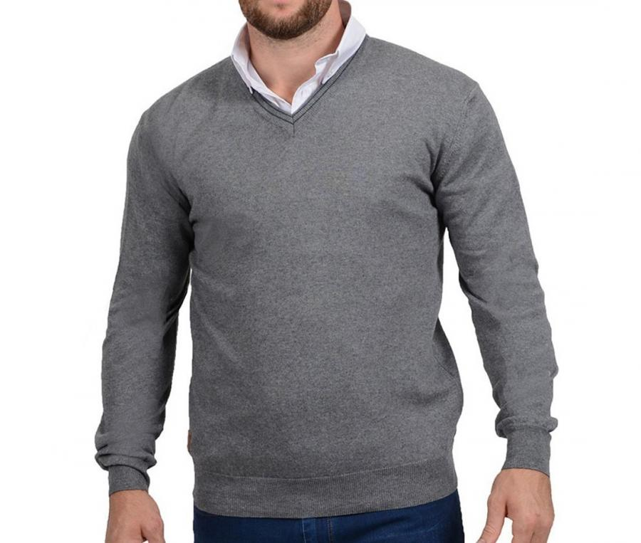 Pull col V Rugby Essentiel gris