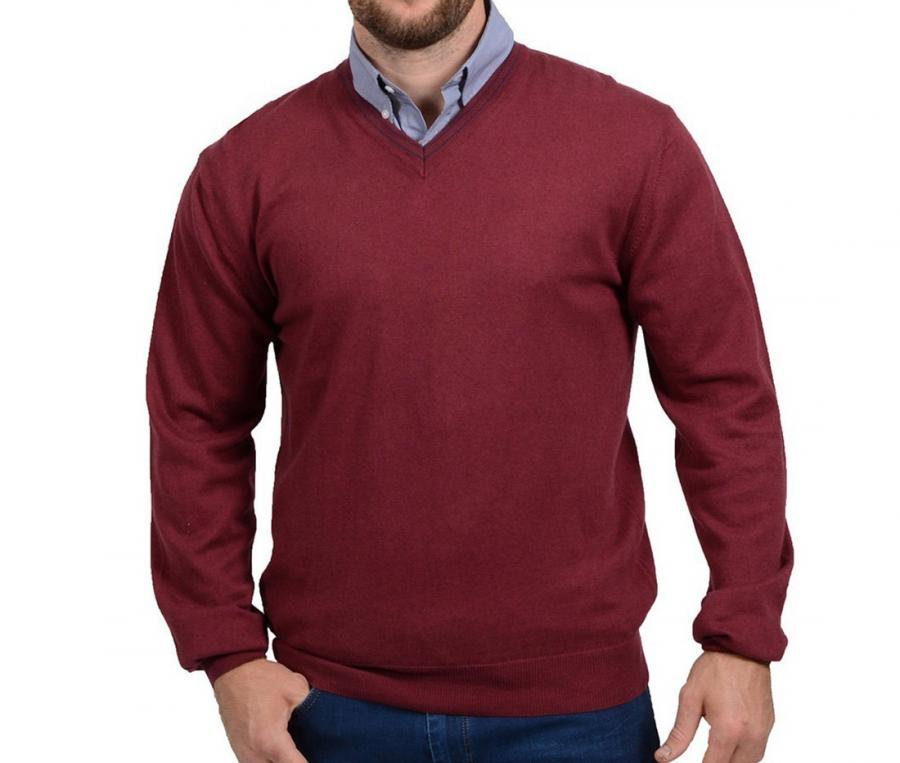 Pull col V Rugby Essentiel rouge