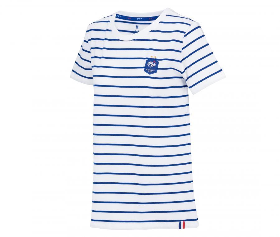 T-shirt France Marinière Blanc/Bleu Femme