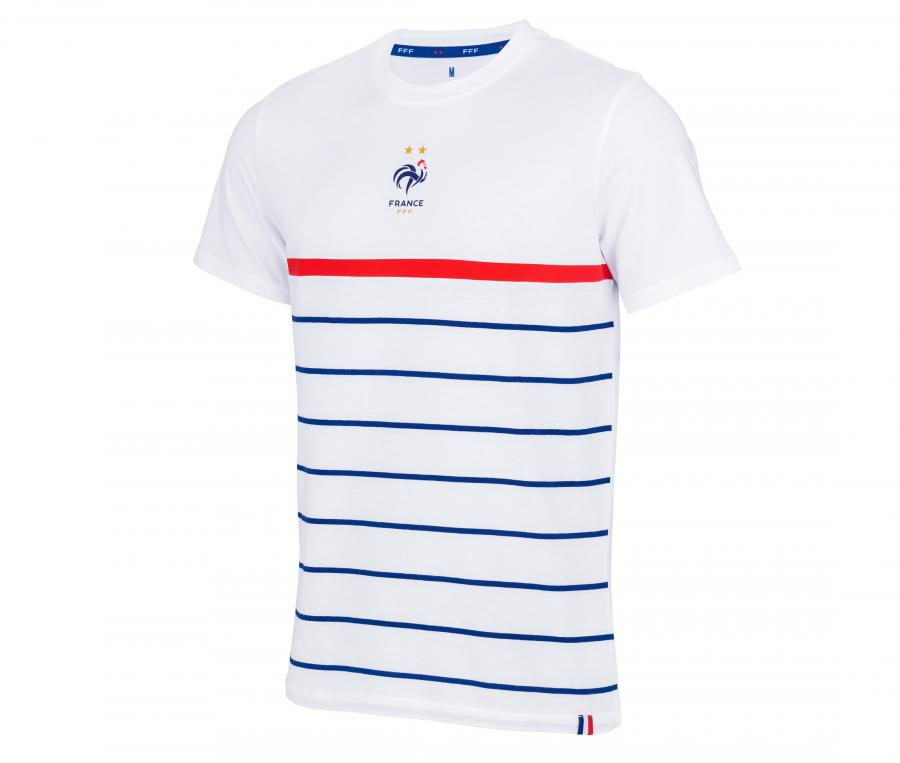 T-shirt France Marinière Blanc Junior
