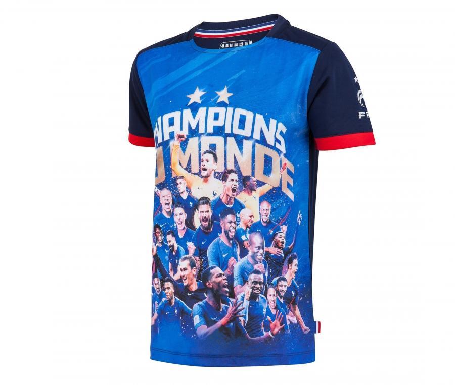 T-shirt France Champions du Monde Bleu Junior