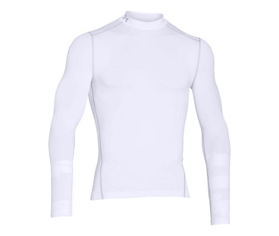 Tee-shirt ColdGear Col Turtle Compression Blanc