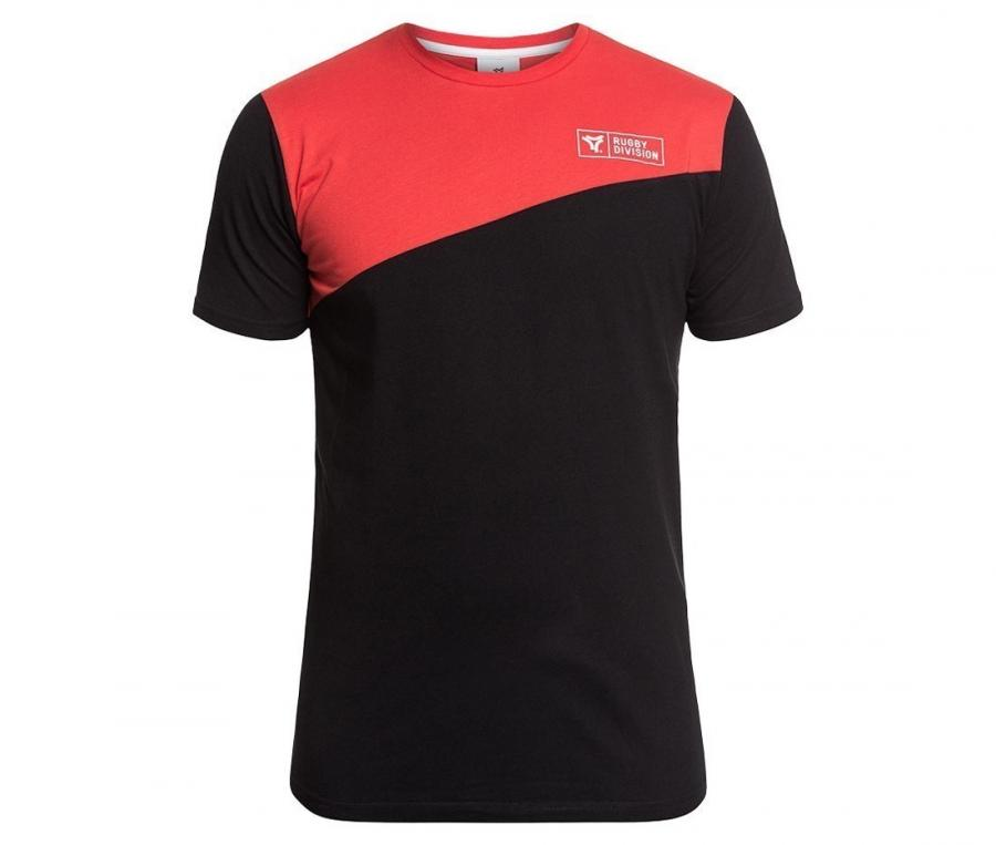 Tee-shirt Rugby Division Diagonal Noir/Rouge