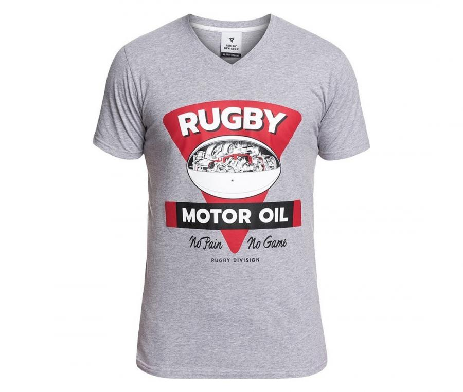 Tee-shirt Rugby Division col V Motor Gris