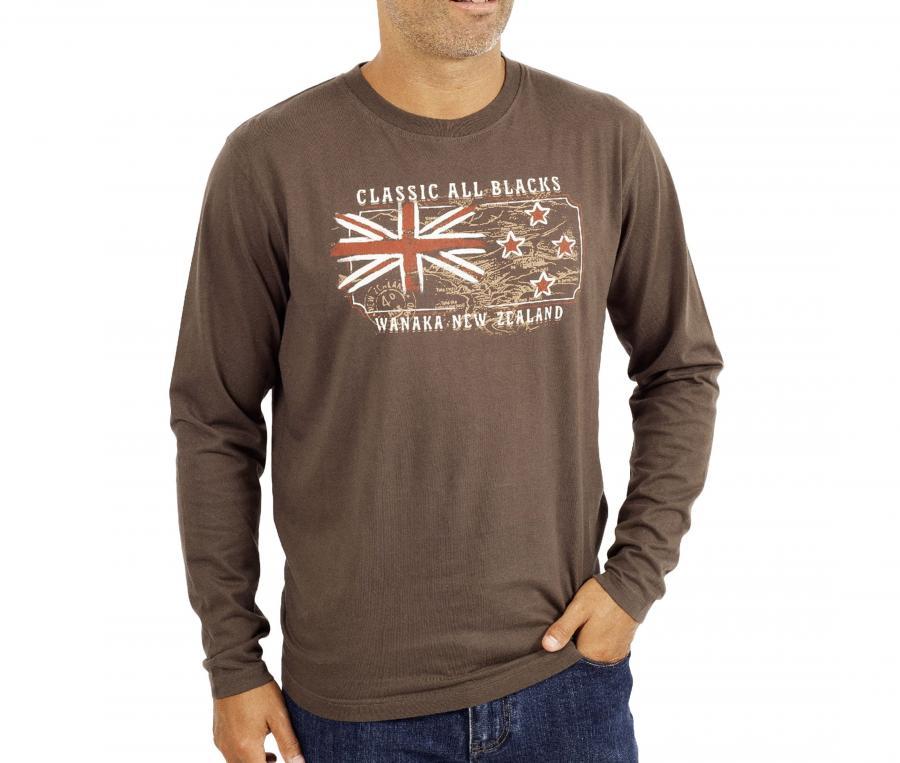 T-shirt Manches Longues All Blacks Marron