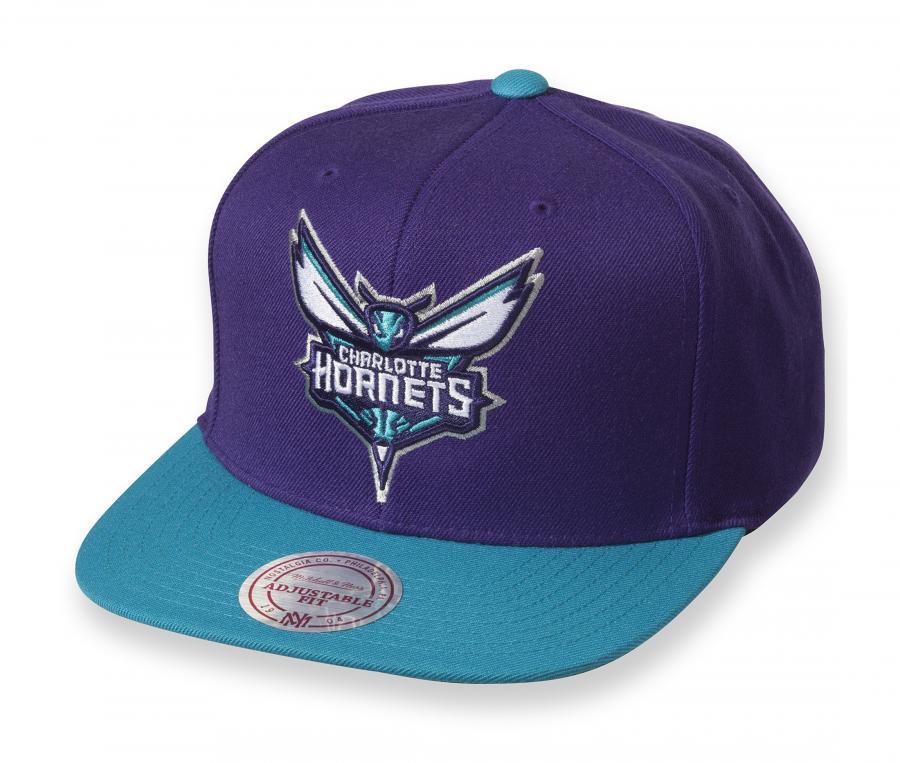 Casquette Mitchell & Ness Charlotte Hornets Snapback Team Violet/Bleu