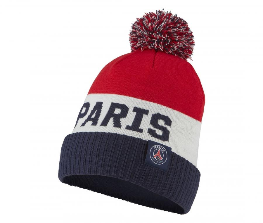 Bonnet PSG Pompon Bleu/Blanc/Rouge