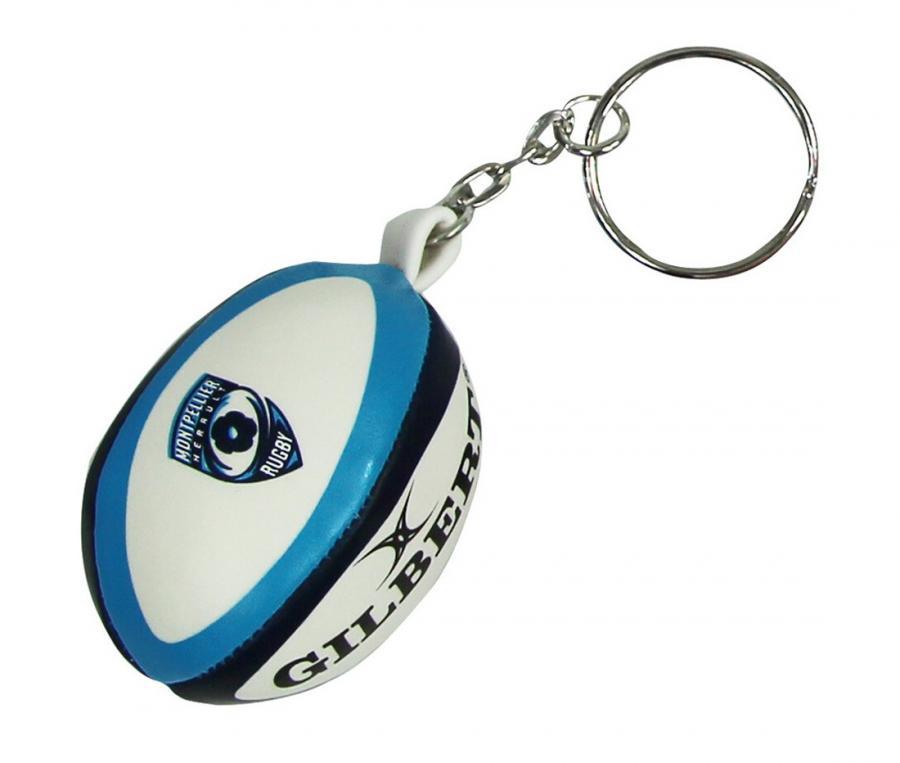 Porte-clés Gilbert ballon rugby mousse Montpellier Blanc/Bleu