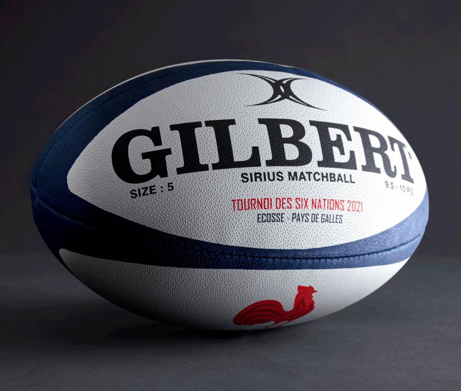 Ballon de match Gilbert France Sirius 6 nations T.5 Blanc