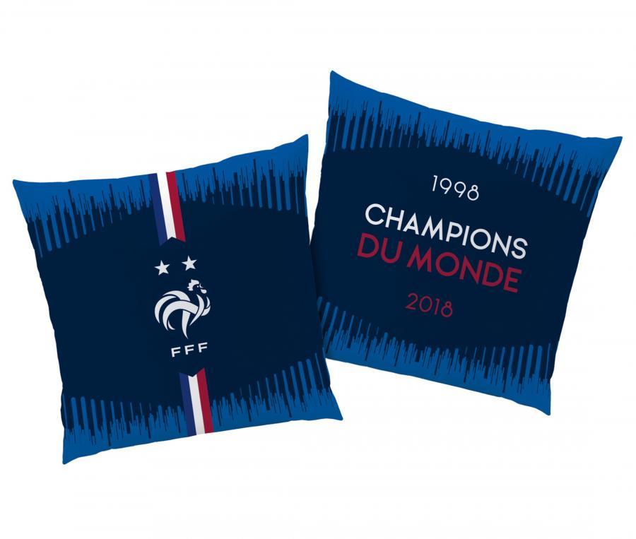 Coussin FFF Champions du Monde Bleu