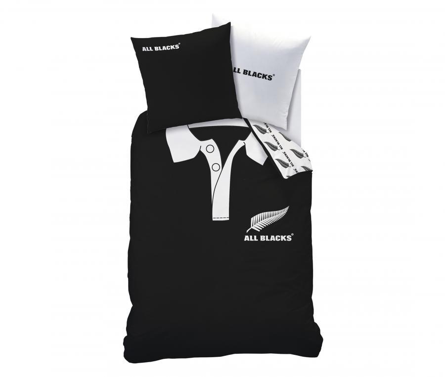 Housse de couette 1 Place + 1 Taie d'oreiller All Blacks Noir/Blanc
