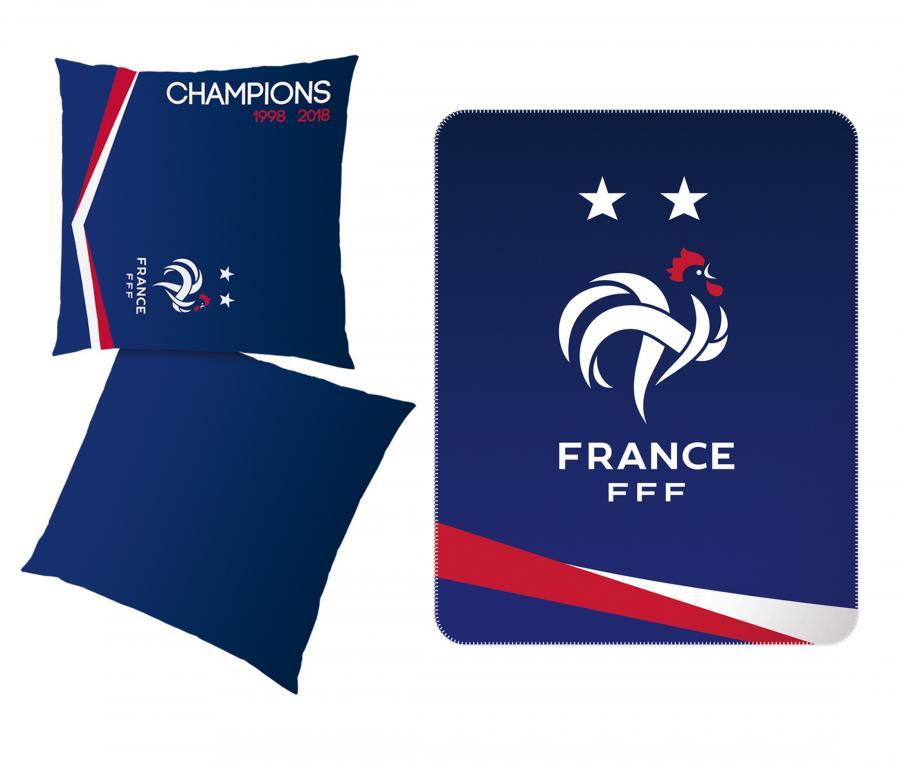 1 Plaid + 1 Coussin Victoire FFF Bleu